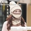 3-in-1 Winter Beanie Scarf Set