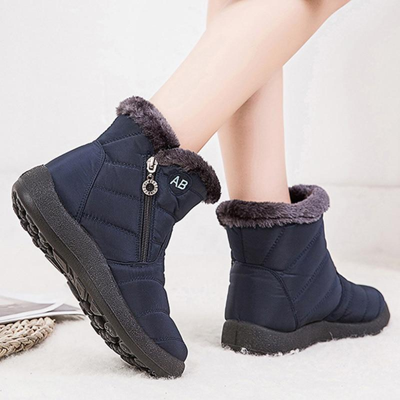 lace up in most popular cute Ankle Boots For Women Boots Fur Warm Snow Boots - Wowelo