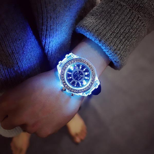Luminous Unisex Glow Silicone LED Bling Students Wrist Watch