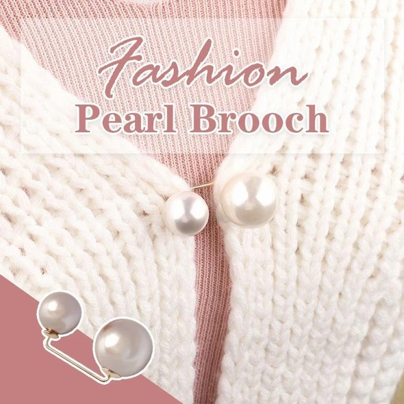 HAOWAN Fashion Simulated Pearl Brooch,Simple Design Button Brooch Women Safety Pins Sweater Shawl Clips Clothing Decoration 3 Colors