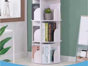 4-TIER Creative Floor Rotating Bookshelf