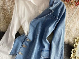 ARANLA Irregular Jean Stitching Polo Dress