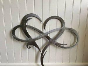 Infinity heart - Steel wall decor Metal Wall art