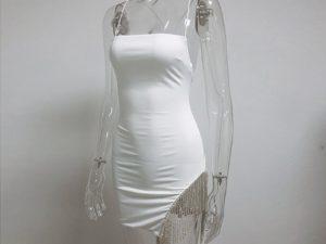 Black Embellished Diamante Trim Mini Dress