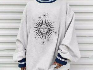 Plus Size Autumn Winter Sun Star Sweatershirts
